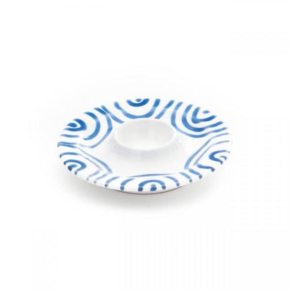 Gmundner Keramik Blaugeflammt Eierbecher Gourmet m. Ablage (BEGO13) 13 cm