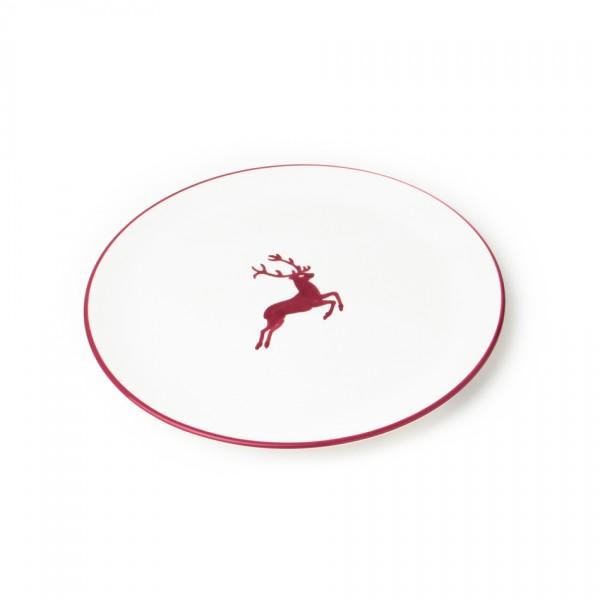 Gmundner Keramik Bordeauxroter Hirsch Speiseteller Cup (TFCU25) 25 cm