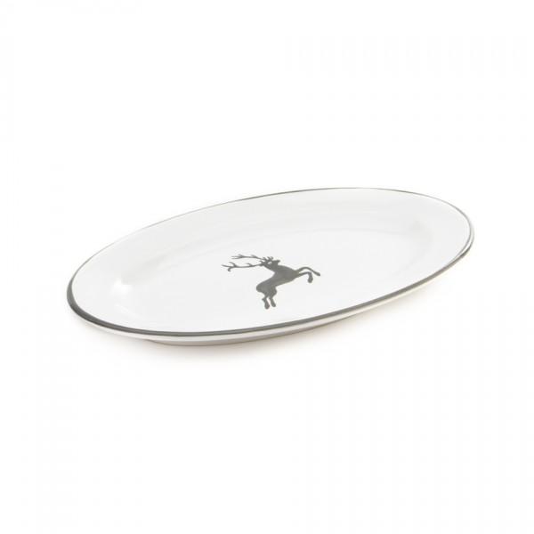 Gmundner Keramik Grauer Hirsch Beilagenplatte oval mit Fahne/Saucieren-Unterteil (POGO21) 21 cm