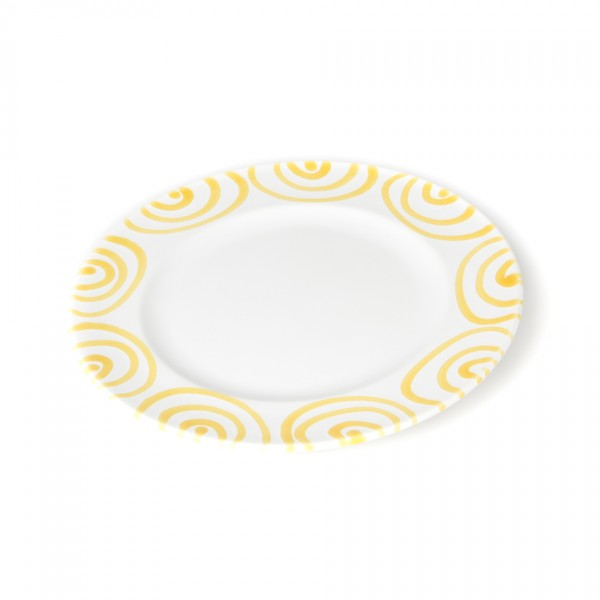 Gmundner Keramik Gelbgeflammt Teller m. Fahne Gourmet (TDGO18) 18 cm