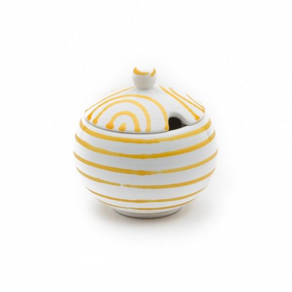 Gmundner Keramik Gelbgeflammt Zuckerdose glatt classic mit Ausschnitt (DAGL09) 10 cm
