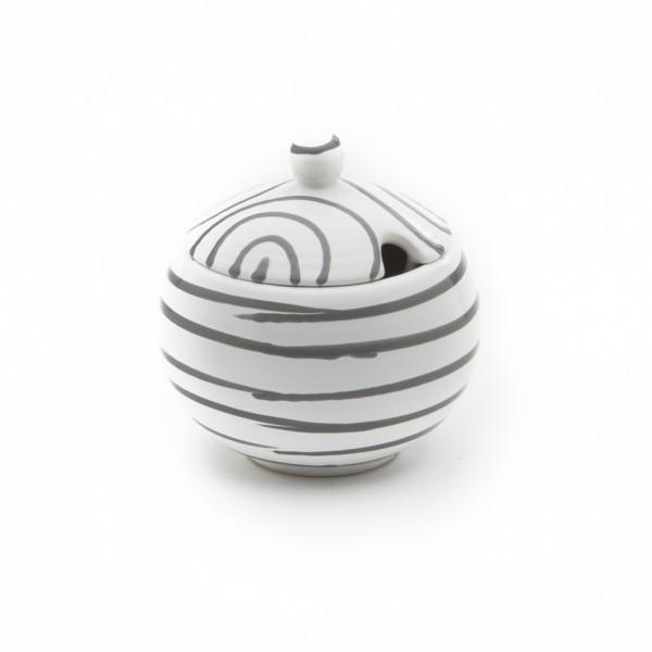 Gmundner Keramik Graugeflammt Zuckerdose glatt classic mit Ausschnitt (DAGL09) 10 cm