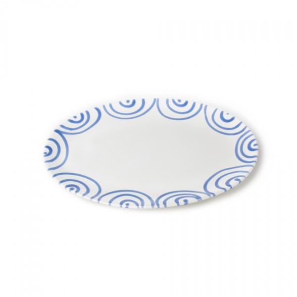 Gmundner Keramik Blaugeflammt Platte oval (POSE38) 38 x 31 cm