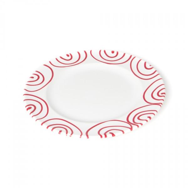 Gmundner Keramik Rotgeflammt Teller m. Fahne Gourmet (TDGO22) 22 cm