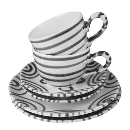 Gmundner Keramik Graugeflammt Breakfast for Two, Classic (STSC06SET)
