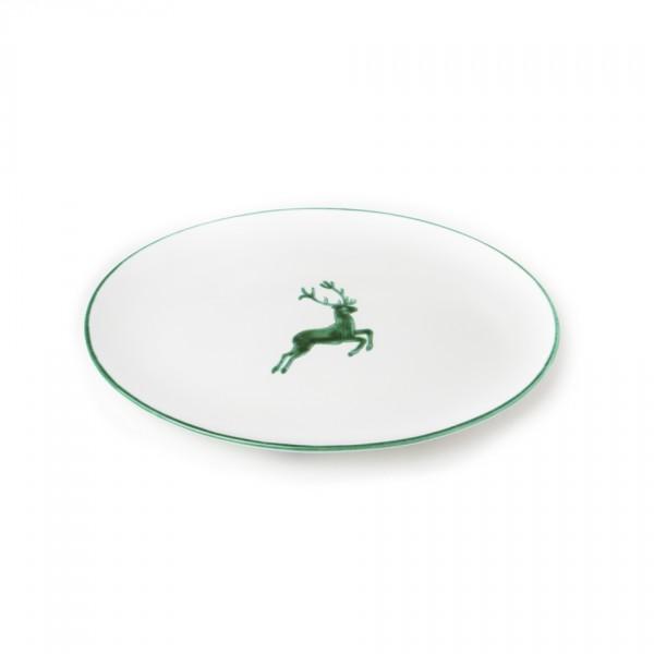 Gmundner Keramik Grüner Hirsch Platte oval Cup (POSE33) 33 cm