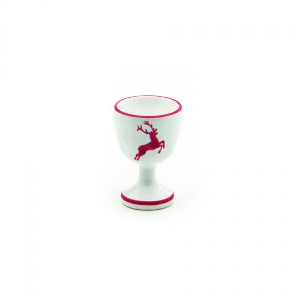 Gmundner Keramik Rubinroter Hirsch Eierbecher auf Fuß glatt (BEGL05) 6 cm