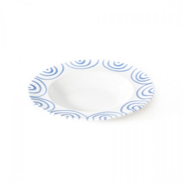 Gmundner Keramik Blaugeflammt Suppenteller m. Fahne Gourmet (TSGO24) 24 cm