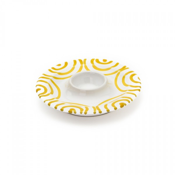Gmundner Keramik Gelbgeflammt Eierbecher glatt classic m. Ablage (BEGL12) 12 cm