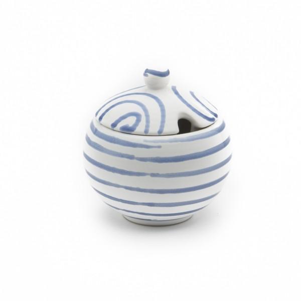 Gmundner Keramik Blaugeflammt Zuckerdose glatt classic mit Ausschnitt (DAGL09) 10 cm