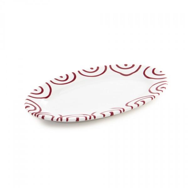 Gmundner Keramik Rotgeflammt Platte oval/Saucieren-Unterteil (POGO21) 21 x 14 cm