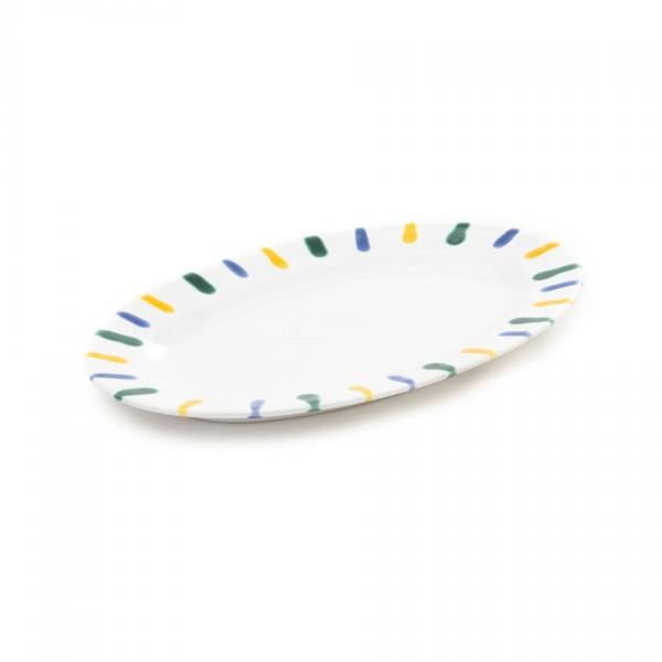 Gmundner Keramik Buntgeflammt Platte oval POGO21 21 x 14cm