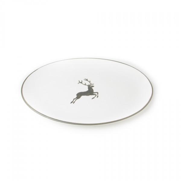 Gmundner Keramik Grauer Hirsch Platte oval Cup (POSE33) 33 x 26 cm
