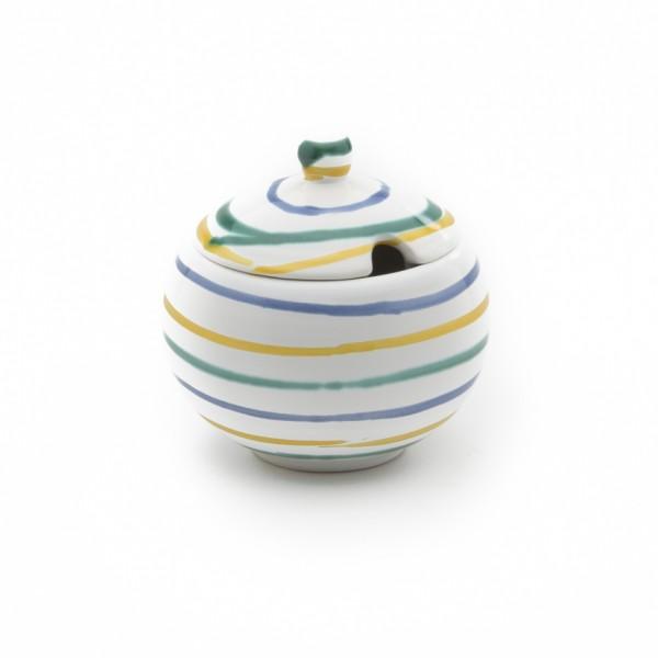 Gmundner Keramik Buntgeflammt Zuckerdose glatt m. Ausschnitt DAGL09 10cm