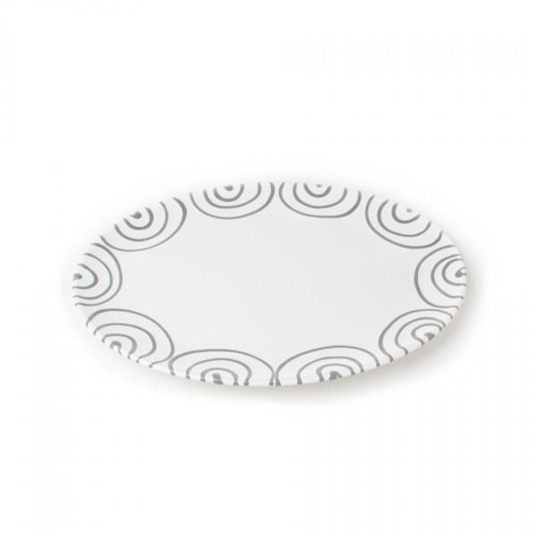 Gmundner Keramik Graugeflammt Platte oval (POSE33) 33 x 26 cm