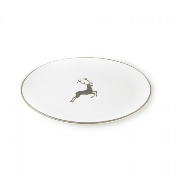 Gmundner Keramik Grauer Hirsch Platte oval Cup (POSE28) 28 x 21 cm