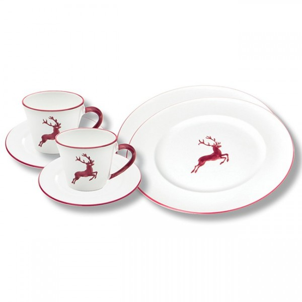 Gmundner Keramik Bordeauxroter Hirsch Breakfast for Two, Gourmet (STSG06SET)