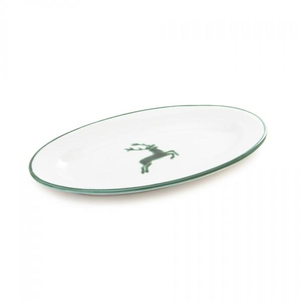 Gmundner Keramik Grüner Hirsch Platte oval/Saucieren-Unterteil (POGO21) 21 cm