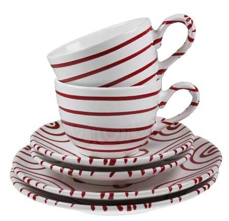 Gmundner Keramik Rotgeflammt Breakfast for Two, Classic (STSC06SET)