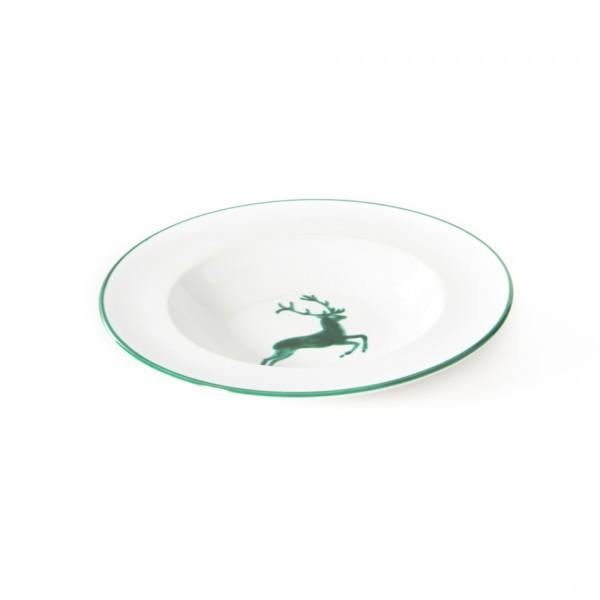 Gmundner Keramik Grüner Hirsch Suppenteller Gourmet mit Fahne(TSGO24) 24 cm