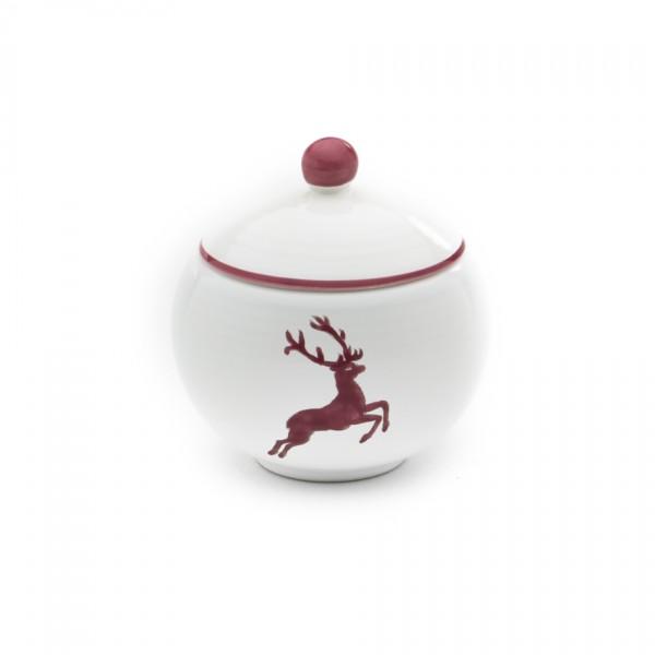 Gmundner Keramik Bordeauxroter Hirsch Zuckerdose glatt (DZGL09) 10 cm