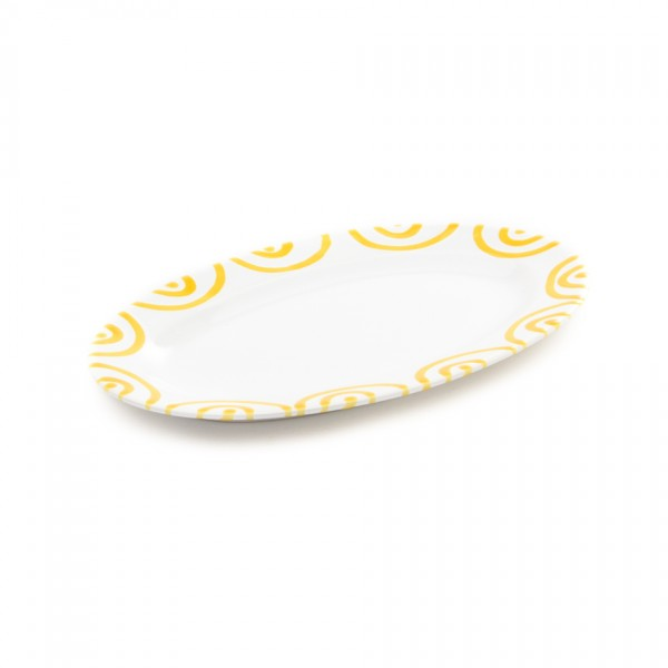 Gmundner Keramik Gelbgeflammt Platte oval/Saucieren-Unterteil (POGO21) 21 x 14 cm
