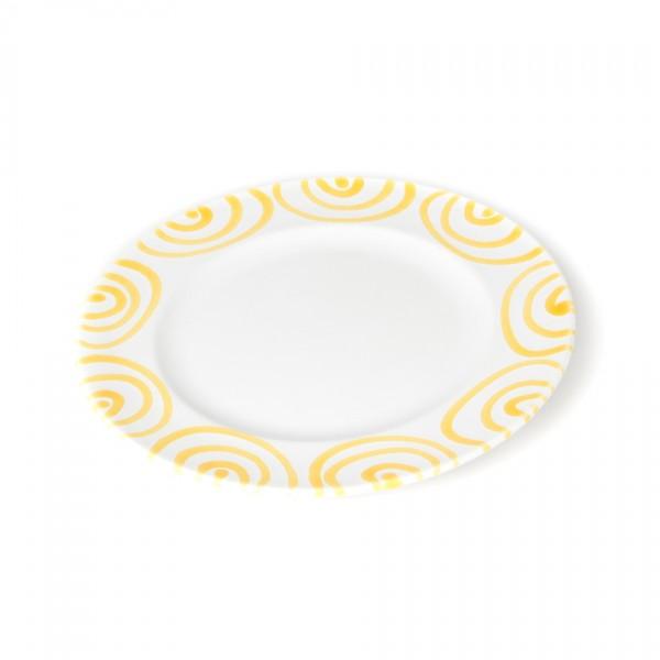 Gmundner Keramik Gelbgeflammt Teller m. Fahne Gourmet (TDGO22) 22 cm