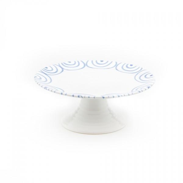 Gmundner Keramik Blaugeflammt Aufsatz flach/Tortenplatte m. Fuß (AUFL24) 24 cm