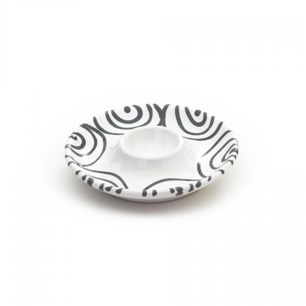 Gmundner Keramik Graugeflammt Eierbecher glatt classic m. Ablage (BEGL12) 12 cm