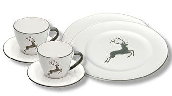 Gmundner Keramik Grauer Hirsch Breakfast for Two, Gourmet (STSG06SET)