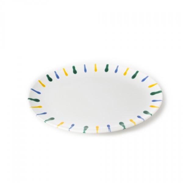 Gmundner Keramik Buntgeflammt Platte oval POSE28 28 x 21cm