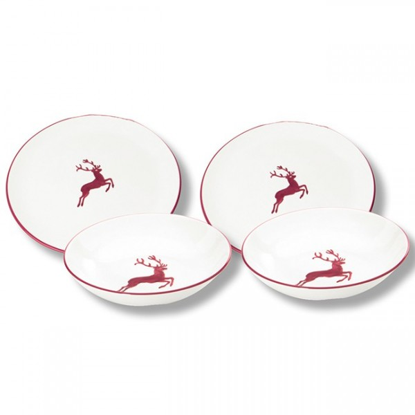 Gmundner Keramik Bordeauxroter Hirsch Dinner for two, Classic (STMC04SET)