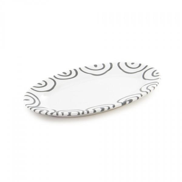 Gmundner Keramik Graugeflammt Platte oval/Saucieren-Unterteil (POGO21) 21 x 14 cm