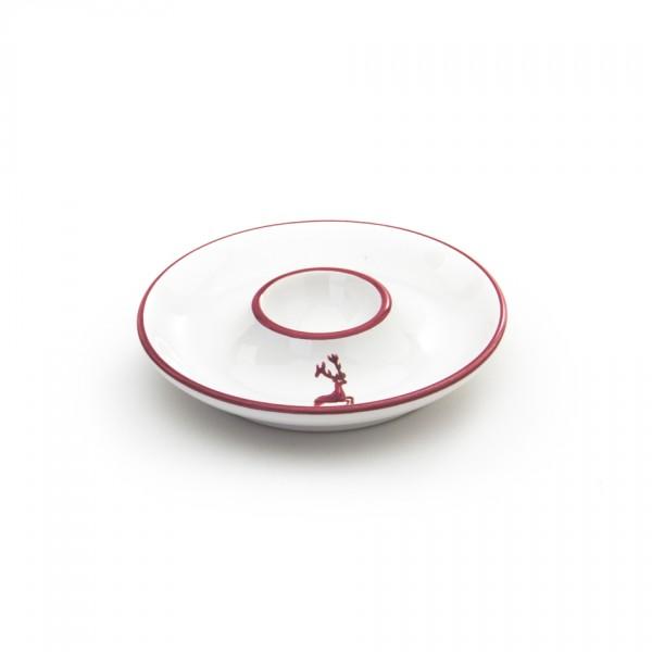 Gmundner Keramik Bordeauxroter Hirsch Eierbecher mit Ablage (BEGL12) 12 cm