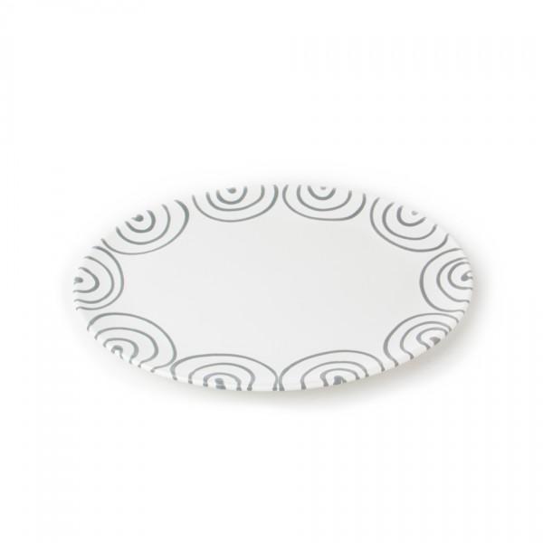 Gmundner Keramik Graugeflammt Platte oval (POSE28) 28 x 21 cm