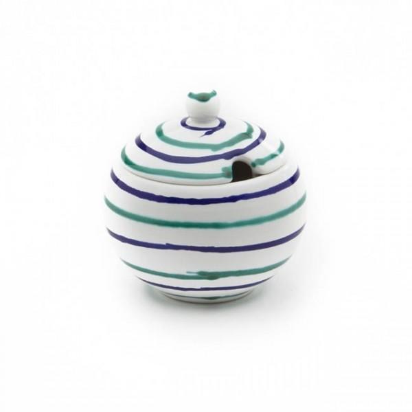Gmundner Keramik Traunsee Zuckerdose glatt m. Ausschnitt DAGL09 10cm