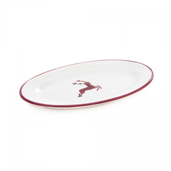 Gmundner Keramik Bordeauxroter Hirsch Beilagenplatte oval mit Fahne/Unterteil zur Sauciere (POGO21)