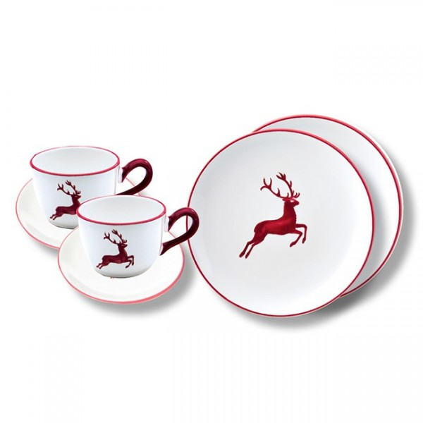 Gmundner Keramik Bordeauxroter Hirsch Breakfast for Two, Classic (STSC06SET)