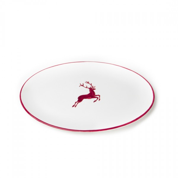 Gmundner Keramik Bordeauxroter Hirsch Platte oval Cup (POSE28) 28 x 21 cm