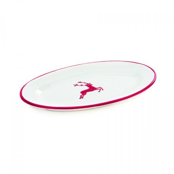 Gmundner Keramik Rubinroter Hirsch Platte oval mit Fahne/Saucieren-Unterteil (POGO21) 21 x 14 cm