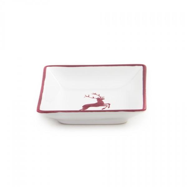 Gmundner Keramik Bordeauxroter Hirsch Snack-Schale (SASN11) 11 x 11 cm