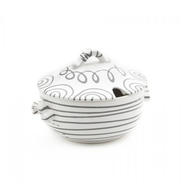 Gmundner Keramik Graugeflammt Suppentopf glatt/Terrine (TSGL23) 2 l