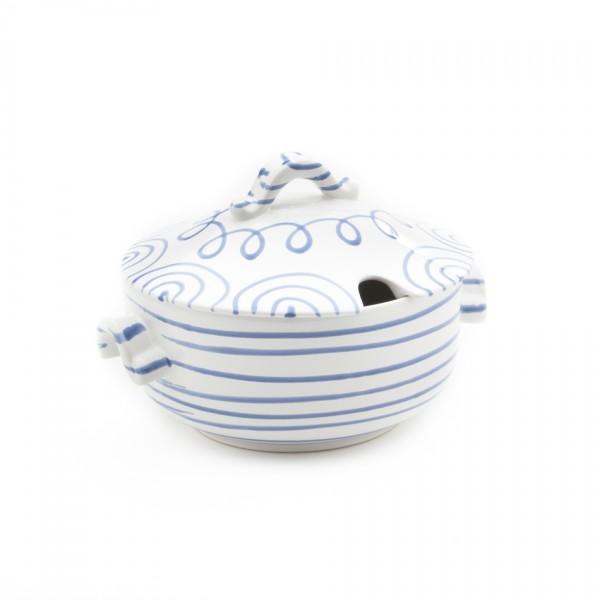 Gmundner Keramik Blaugeflammt Suppentopf glatt/Terrine (TSGL23) 2 l