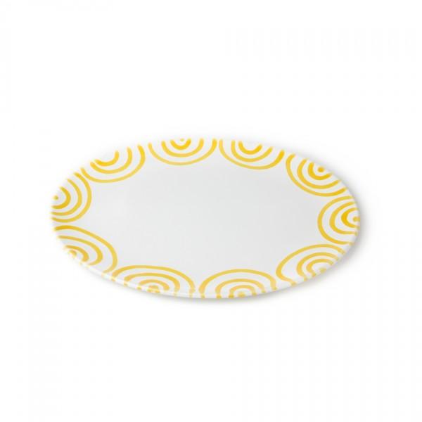 Gmundner Keramik Gelbgeflammt Platte oval (POSE28) 28 x 21 cm
