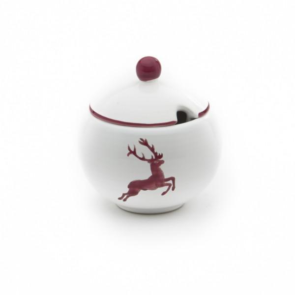 Gmundner Keramik Bordeauxroter Hirsch Zuckerdose glatt mit Ausschnitt (DAGL09) 10 cm