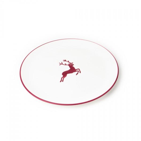 Gmundner Keramik Bordeauxroter Hirsch Gourmetteller/Platzteller Cup (TFCU32) 32 cm