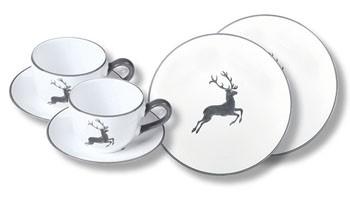 Gmundner Keramik Grauer Hirsch Breakfast for Two, Classic (STSC06SET)