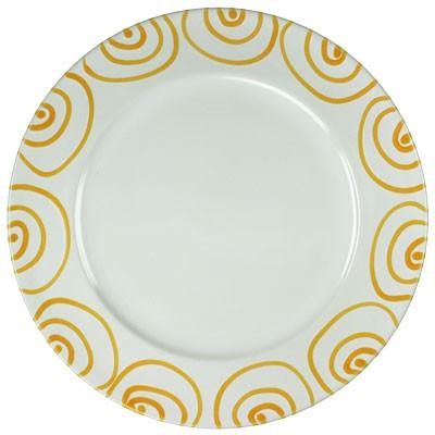 Gmundner Keramik Gelbgeflammt Speiseteller m. Fahne Gourmet (TFGO29) 29 cm