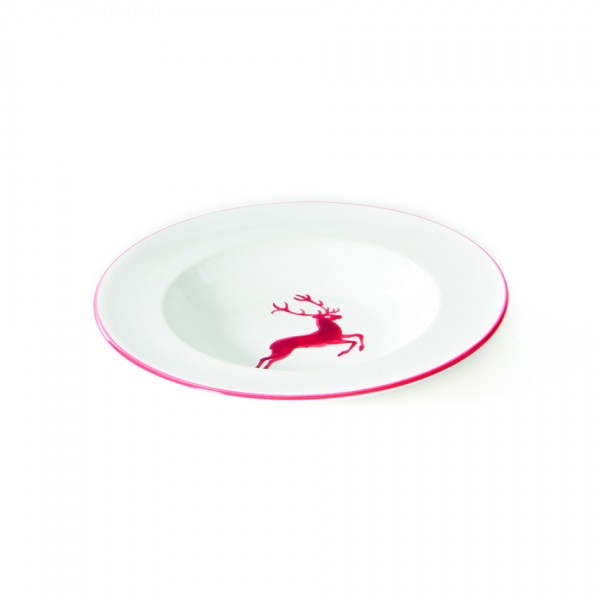 Gmundner Keramik Rubinroter Hirsch Suppenteller Gourmet mit Fahne (TSGO24) 24 cm