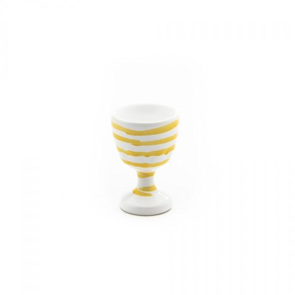 Gmundner Keramik Gelbgeflammt Eierbecher glatt classic m. Fuß (BEGL05) 6 cm